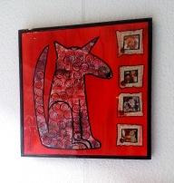 Rood Chinees hondje, 50 x 50 cm, €150